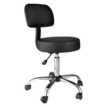 Comfort Products OneSpace 60-1019 Medical Stool with Back Cushion, Black