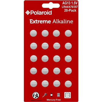 Polaroid Extreme GPA76 LR44 AG13 1.5V Button Cell Alkaline Batteries Hexbug Compatible (20-Pack)