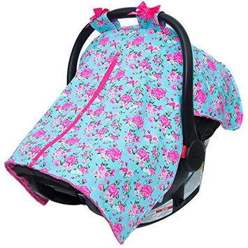 JLIKA Baby Car Seat Canopy Cover - Infant Canopy Cover for newborns infants babies girls boys best shower gift for carseats (Aqua Hot Pink Rose)