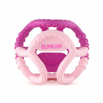 Bumkins Silicone Sensory Teether Ball, Baby Teether, Infant Teether, Tactile, Flexible, Soft, Multi Texture, Bacteria Resistant - Pink [Bumkins]