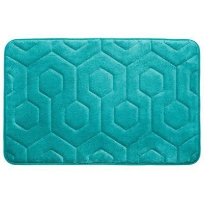 BounceComfort Hexagon Turquoise 20 in. x 34 in. Memory Foam Bath Mat