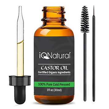 Organic Castor Oil - 100% USDA Certified Pure Cold Pressed - Boost Growth For Eyelashes, Hair, Eyebrows, Face and Skin - with Treatment Applicator Kit 1oz (30ml)