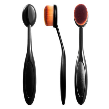 Zodaca Small Head Oval Cream Puff Cosmetic Toothbrush Shaped Powder Makeup Foundation Brush - Black/Brown