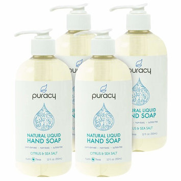 Natural Liquid Hand Soap - Sulfate-Free - Plant-Based - Non-Toxic - Citrus & Sea Salt 12 FL. OZ. PUMP [Citrus & Sea Salt]