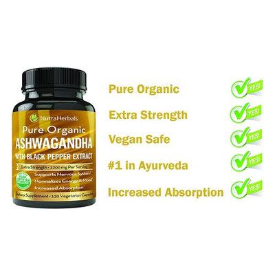 Organic Ashwagandha Root Powder 1200mg - 120 Veggie Capsules - Ashwaganda Supplement – Black Pepper Extract For Increased Absorption [1]