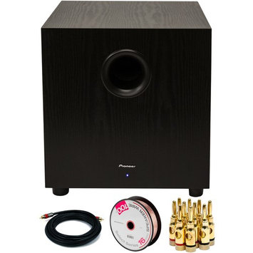 Pioneer 400W Powered Subwoofer Black with Banana Plugs & Cables Bundle