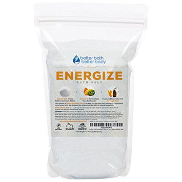 Energize Bath Salt 32oz (2-Lbs) - Epsom Salt Bath Soak With Orange Essential Oils & Vitamin C - 100% All Natural No Perfumes No Dyes - Rejuvenate...