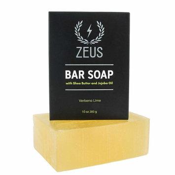 ZEUS XL Hard Bar Soap for Body and Face with Shea Butter & Jojoba Oil, 10oz (Verbena Lime)