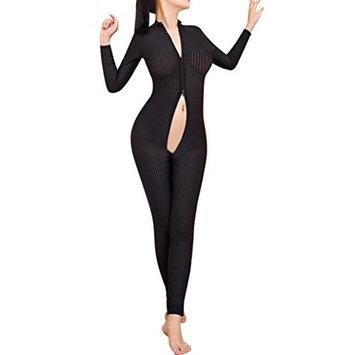 USHOT Women Striped Sexy Bodysuit Zipper Long Sleeve Open Crotch Lingerie Jumpsuit
