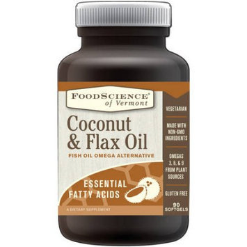 FoodScience of Vermont Coconut and Flax Oil, Fish Oil Omega Alternative, 90 Softgels
