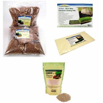 Living Whole Foods Soil Based Wheatgrass Kit Refills - Seed, Soil & Azomite Fertilizer