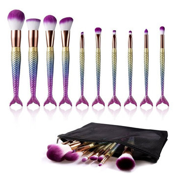 Colorful Makeup Brushes Set, Cosmetic Tools Mermaid Colorful Makeup Brushes Foundation Eyebrow Eyeliner Brush Kit, MEFA