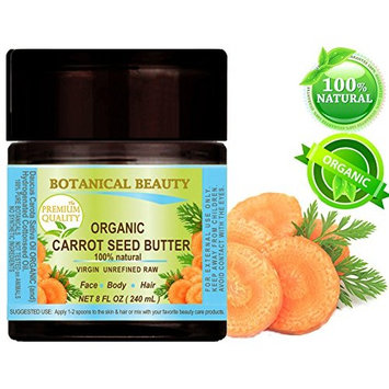 ORGANIC CARROT SEED OIL BUTTER WILD GROWTH Daucus Carota .100% Natural VIRGIN UNREFINED. 8 Fl oz - 240 ml. For Skin, Face, Hair, Lip and Nail Care. by Botanical Beauty