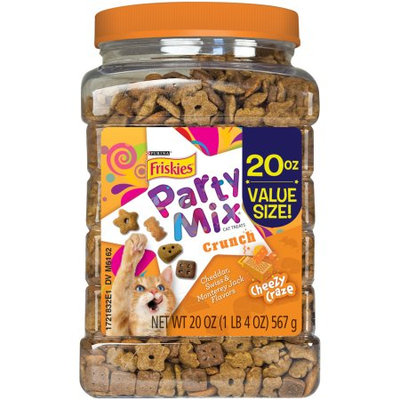 Whisker Lickin's Purina Friskies Party Mix Crunch Cheezy Crazy Dry Cat Treats, 20 Oz.