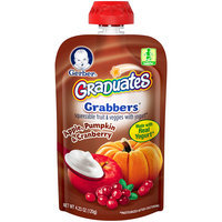 Gerber Graduates Grabbers Squeezable Fruit & Veggies with Yogurt Apple, Pumpkin & Cranberry, 4.23 Ounce Pouch (Pack of 12)