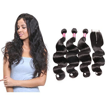 Ali Queen Brazilian Body Wave Bundles With Closure Remy Hair 3 Bundles Brazilian Remy Human Hair Weave Weft Extensions Natural Color (8 8 8 inch, 8 inch Middle Part)