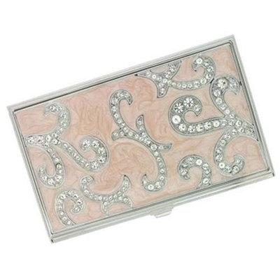 Visol V709B Evaline Light Pink Marble and Austrian Crystals Business Card Case