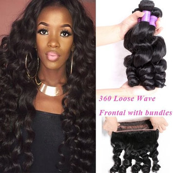 YoungFace 360 Loose Wave Frontal with Bundles 8A Grade Brazilian Virgin Hair Loose Wave Bundles with 360 Lace Frontal 100% Human Hair Extensions
