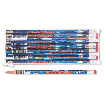 Moon Products Decorated Wood Pencil, Super Reader, HB #2, Blue Barrel, Dozen