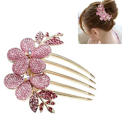 1 Set Combs Hairbrush Lady Girl Flower Pattern Alloy Rhinestone Barrette Hair Clip Comb Combo Pocket Long Round Handle Holder Great Popular Beard Brush Natural Grooming Women Travel Kit