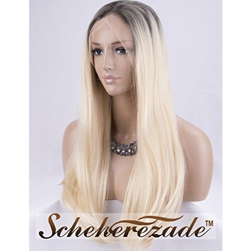 Scheherezade 613 Ombre Blonde Lace Front Wig Straight Medium Length Half Hand Tied Platinum Blonde Wigs for Women 18 Inches Glueless Heat Resistant Blond Lace Front Synthetic Wigs Middle Part