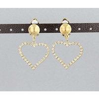 Gold Clip On earrings clear crystal heart pendant clips earrings lightweight