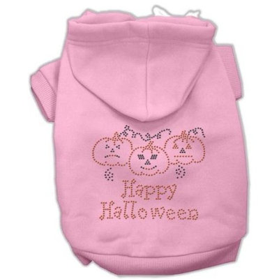 Mirage Pet Products 20-Inch Happy Halloween Rhinestone Hoodies, 3X-Large, Pink