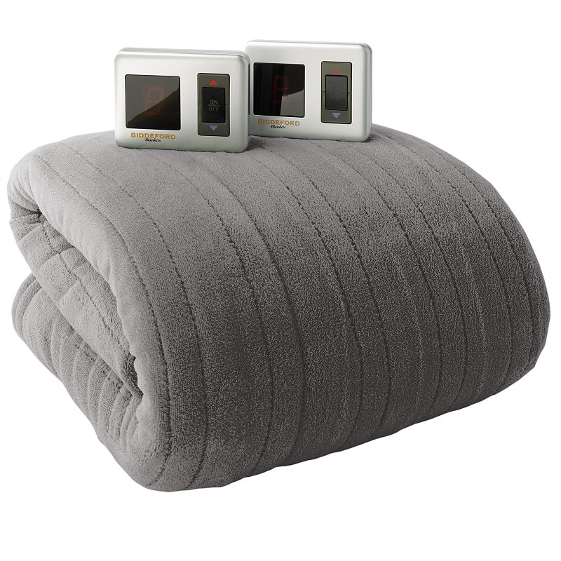 Biddeford Plush Heated Electric Blanket (Grey)