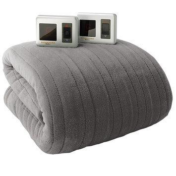 Biddeford Plush Heated Electric Blanket (Grey)