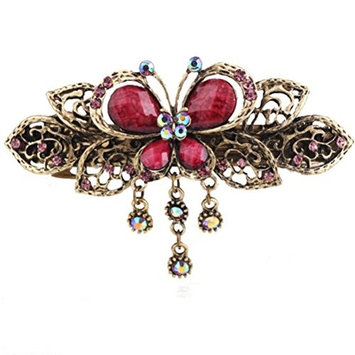 WINOMO Retro Butterfly Style Hair Clips Hairpins Hair Barrette Clip Beauty Tools Jewelry (Red Purple)