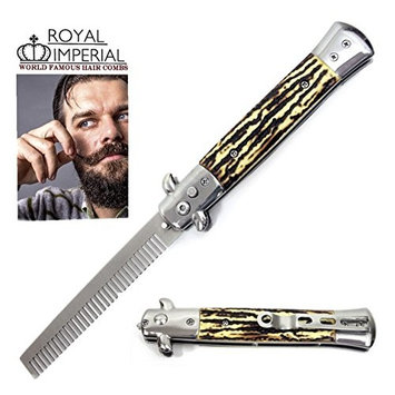 Royal Imperial Metal Switchblade Pocket Folding Flick Hair Comb For Beard, Mustache, Head SIMULATED STAG Handle ~ INCLUDES Beard Fact Wallet Book ~ Nicer Than Butterfly Knife Trainer