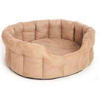 Premium Oval Faux Suede Softee Beds Tan - 76cm - Size 5