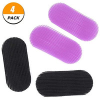 Feihoudei 4 Pack Hair Grippers Hair Velcro Hair Holders Black + Purple (2 Pairs)