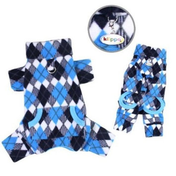Dog/Puppy Blue and Black Argyle Fleece Turtleneck Pajamas/Bodysuit/Loungewear/Coverall/Jumper/Romper for Small Breeds