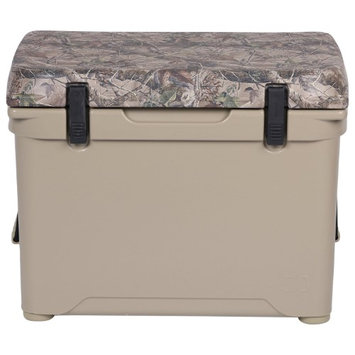 Engel ENG50-C 1.6 Cu. Ft. DeepBlue Roto-Molded High-Performance Cooler with Built-In Handles Stainless Steel Inserts Unity Latch System and Cornerstone Feet in Tan