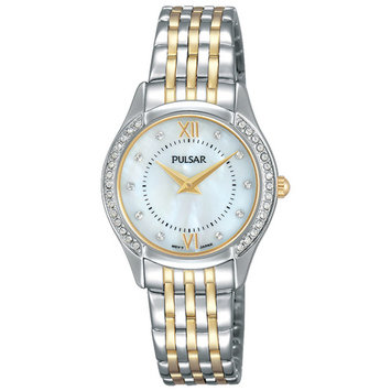 Pulsar Womens Watch - Two-Tone Case & Bracelet - Crystals - MOP Dial - 30m