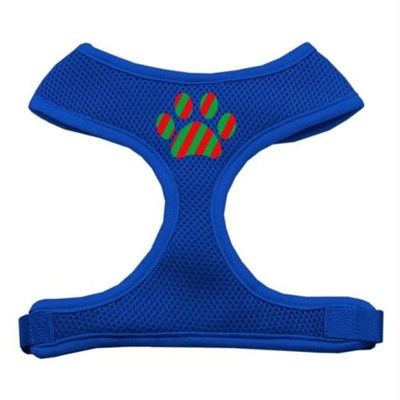 Mirage Pet Products 7007 MDBL Christmas Paw Screen Print Soft Mesh Harness Blue Medium