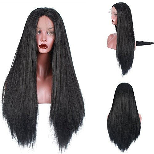 """Light Yaki Straight 250%Density Fashion Long Natural Straight 10%Human Hair+90%Heat Resistant Fiber Glueless Lace Front Synthetic Wig For Women (28"""", #1)"""