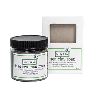 Dead Sea Mud Mask/Sea Clay Facial Cleansing Bar Combo Pack - Detoxifying, Purifying Sea Clay Facial Mask and Cleansing Bar, All Natural, Handmade in US