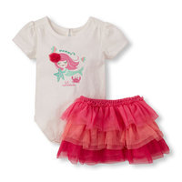 Baby Girls Short Sleeve 'Mommy's Lil' Mermaid' Bodysuit And Ruffle Skirt Set