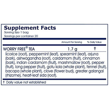 Worry Free Herbal Tea, 20 Herbal Tea Bags, 1.2 oz (34 g)