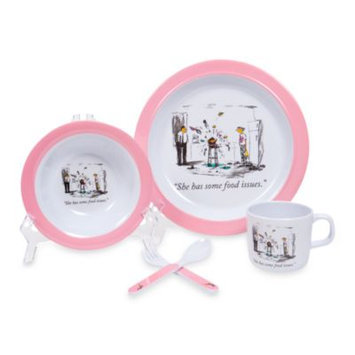 The New Yorker baby collection by Silly Souls NYDishfoodb New Yorker 5 Piece Dish Set He s Got Food Issues Blue
