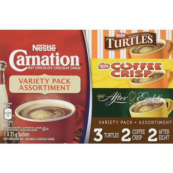 Nestle Carnation Hot Chocolate Variety Pack- 7x25g Sachets, Turtles, Coffee Crisp, After Eight (Imported from Canada)