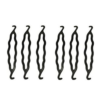 6PCS Plastic Bun Maker Curler Hair Styling Donut Bun Former Maker Hair Twist Braid Tool Black
