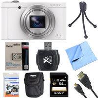 Sony Cyber-Shot DSC-WX500 Digital Camera with 3-Inch LCD Screen White 64GB Bundle