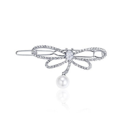 CHIMERA Hairpin Crystal Dragonfly Pearl Pendant Hair Clips Girl and Women's Silver Metal Gold-plated Barrette Party Jewelry Accessories