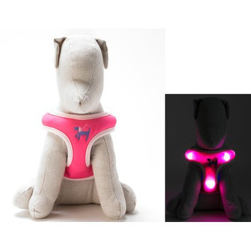 Dog-e-glow Light Up LED Dog Harness - Patented Light Up Comfort Harness for Puppies and Dogs - by Dog e Glow (Pink, large 20