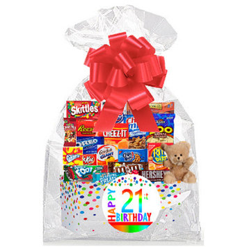CakeSupplyShop Item#021BSG Happy 21st Birthday Rainbow Thinking Of You Cookies, Candy & More Care Package Snack Gift Box Bundle Set - Ships FAST!