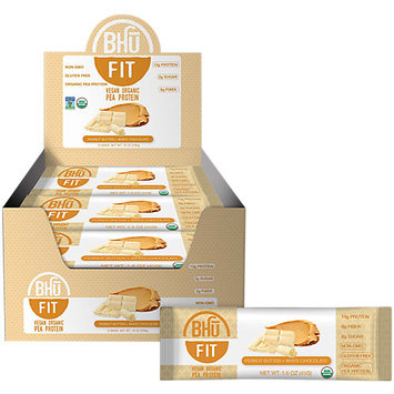 BHU Foods Fit Bar Vegan Protein, Peanut Butter + White Chocolate, 12 Bars