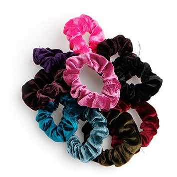 UJuly 10pcs Elastic Hair Band for Women's Hair Velvet Rubber Ponytail Tie for Heavy and Curly Hair Dancing Party Ornament